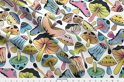 Psychedelic Mushrooms Fabric Printed by Spoonflower BTY
