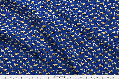 Construction Truck Digger Crane Bulldozer Baby Fabric Printed by Spoonflower BTY