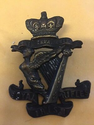 Excellent Original Victorian Crown Royal Irish Rifles  Cap Badge