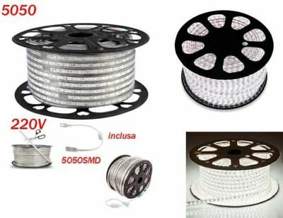Striscia Led Strip Led 5050 Flessibile Interno Esterno 220V Bobina Da 1 100M Sir