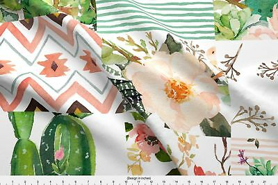 Baby Girl Floral Boho Flowers Cactus Fabric Printed by Spoonflower BTY
