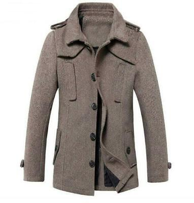 390e28750fd Mens British Warm Hooded Coat Jacket Stand Collar Wool Blend Peacoat Parka  Zsell
