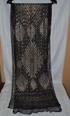 Antique Epyptian Assuit Hand Woven Scarf with Hammered Silver Designs