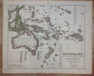 AUSTRALIA NEW ZEALAND DATED 1837 by F.W. STREIT LARGE ANTIQUE ENGRAVED MAP