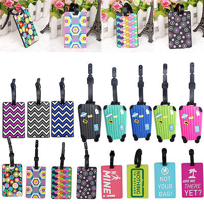 Suitcase Luggage Tags Name Address Label  Strap Silicone Baggage Tags Decor