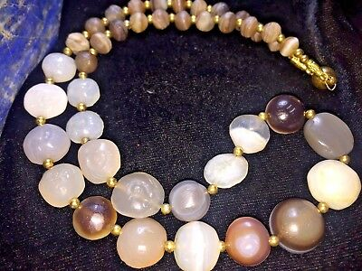 RARE Authentic Assorted Ancient Natural Eye Agate Intaglio Signet Beads Necklace