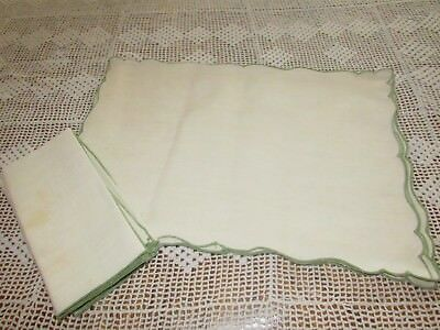 4 Vtg  Off  White Linen Placemats & Napkins With Green Edges 12X18