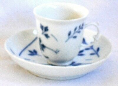 Rare Meissen Blue And White C18Th Cup With C19Th Saucer Of Same Rare Pattern