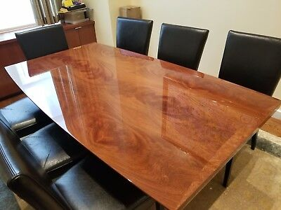 Italian Made, Solid Mahogany Dining Room Table & Set of 8 Black Leather Chairs