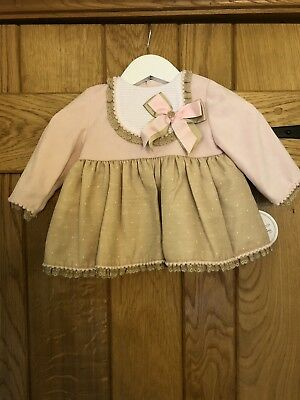 Baby Girls Spanish Dress With Knickers And Bonnet BNWT Pink And Beige