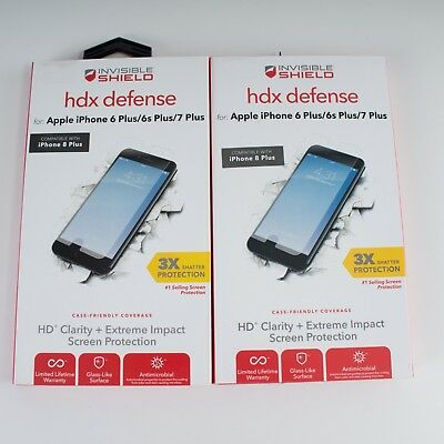 buy popular 8fedd 372ad 2 PACK - iPhone 6 6s 7 8 PLUS Screen Protector Invisible Shield ZAGG HDX  Defense