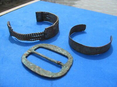 Wonderful  LOT (3) ANCIENT BRONZE  ARTIFACTS buckle / bracelet