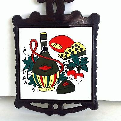 VTG MCM Cast Iron Tile TRIVET Wine And Cheese Chianti Yellow, Green, Red, Black