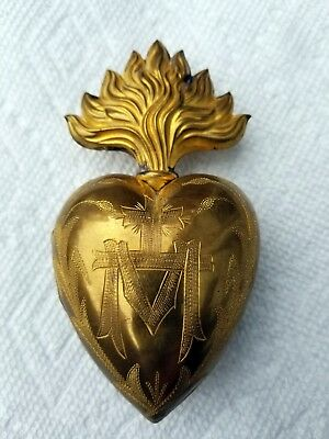 Vintage Large Antique 19th Century French Gilded Brass Sacred Heart Ex Voto Rare