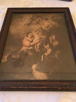Very Old Religious Picture in Wood Frame Rare