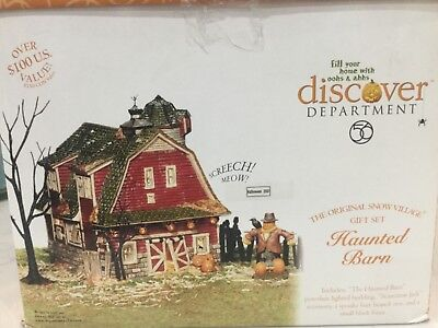 Dept. 56 Halloween Haunted Barn Snow Village 4 Piece Gift Set 2001