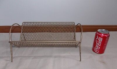Vtg Mid Century Modern Gold Metal Mesh Book / 45rpm Rack Organizer 50's Decor