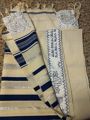 Jewish Prayer Shawl Tallit - Blue and Silver on Ivory