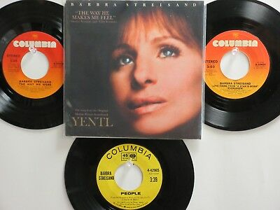 LOT OF 4 ' BARBRA STREISAND ' HIT 45's+ 1PS[The Way He Makes Me Feel 70's&80's!