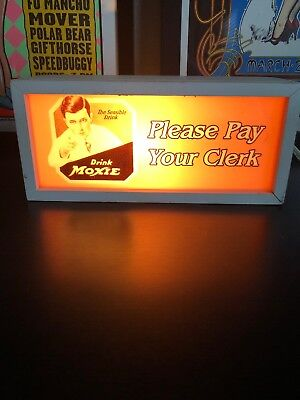 "Moxie Light Up Sign ""Please Pay Your Clerk"" Drink Moxie 11 1/2"" X 5"""