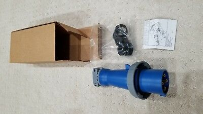 NEW IN BOX! Hubbell AC HBL460P9W, 60 Amp 3 Phase 250 Volt 4 Pin & Sleeve Plug