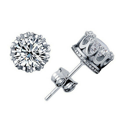 Plating Alloy & Crown Design Zircon Ear Piercing  Silver Stud Earrings