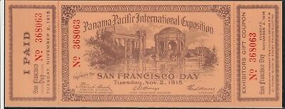 1915 Complete panama pacific Exposition entry ticket excellent condition