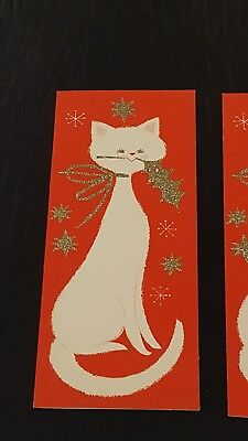 Lot of 5 Vintage Christmas Cards-White w/glitter decor Unused
