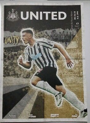 Newcastle United V Brighton And Hove Albion 2018/19 Match Day Programme.