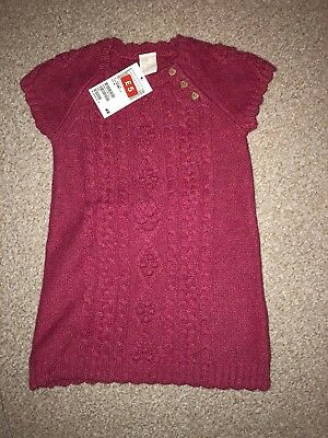 H&M Kids Pink Cable Knit Dress Size 12-18 Months BNWT
