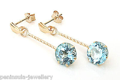 9ct Gold Blue Topaz round drop Earrings Gift Boxed Made in UK