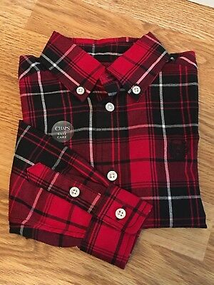 CHAPS Classic Button Down Long Sleeve Red Black Plaid Shirt Boy Size 2 / 2T NEW