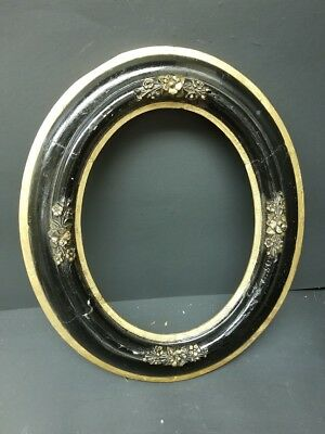Antique Victorian Wooden Gold and Black Painted Floral Frame