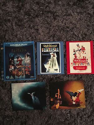 Rare Disney Blu Ray O Ring Slip Cover - Fantasia & Art Cards