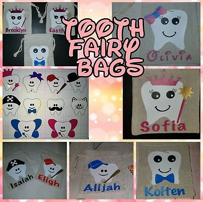 Personalized Tooth Fairy Bag Tooth Pouch teeth holder