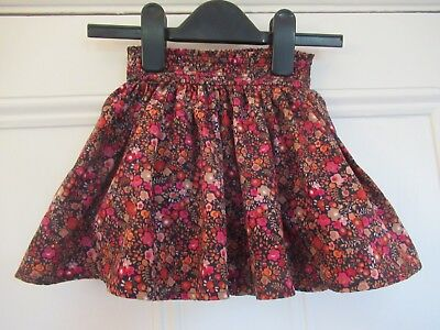 12-18m: Blue & red floral skirt: Polyester/Lined: NEXT: Good condition