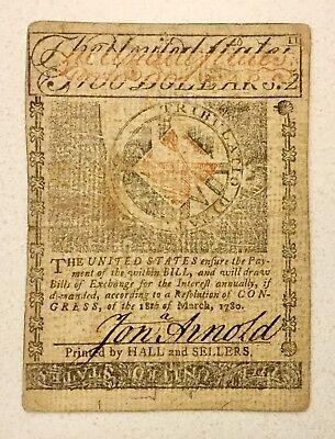 RHODE ISLAND JULY 2 1780 Two Dollars Colonial Note RARE SPY NOTE signed M BOWLER