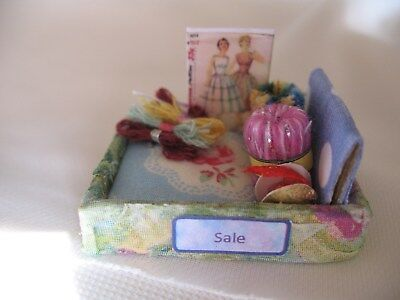box miniture sale display items for, dolls house, haberdashery shop, sewing room