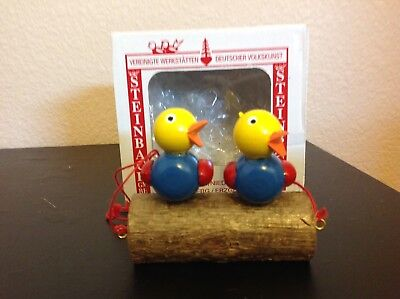 Steinbach Wooden Christmas Ornament Hand made in Germany ~ 2 BIRDS ON LOG ~ Box