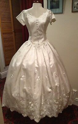 VINTAGE 1980's/90's IVORY WEDDING DRESS WITH TRAIN BY BRIDES INTERNATIONAL