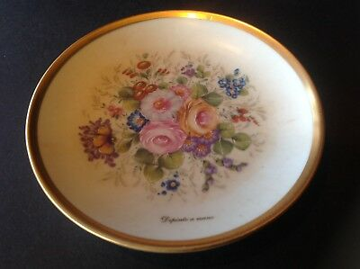 Limoges Decorative  Mini Plate with Handpainted Flowers Gilt Hallmarked France