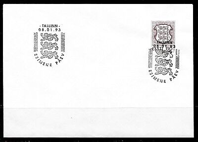 1993 Estonia first day cover new currency (Senti) dated 8 January 1993