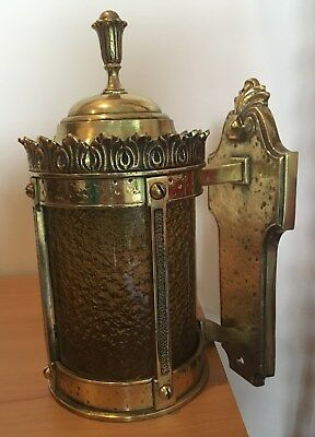 Vintage Brass Light With Amber Glass - Beautiful