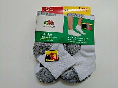 Mens Cushion Ankle Socks Shoe Size 12-16 XL White Fruit Of The Loom New 6-Pair