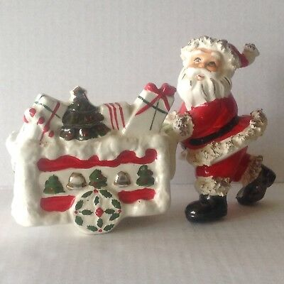 Vintage Relpo Santa Red Spaghetti suit pushing cart Planter MN 1110 Japan