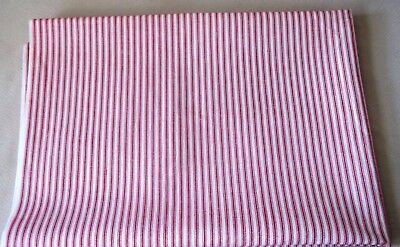 Red And White Striped Pillow Ticking Cotton Fabric, 104 By 37 Inches, Unused