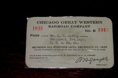 CHICAGO GREAT WESTERN RAILROAD COMPANY 1935 Pass