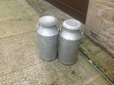 Pair Of Milkchurn Aluminium Milk Churns with lids 10 gallon.