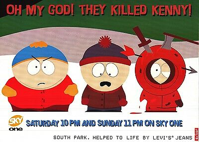 """TV POSTER~South Park """"They Killed Kenny"""" 1997 Sky One Levi's UK Quad 30x40""""~NOS"""