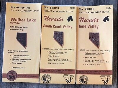 3 BLM Edition Topographic Map Nevada Walker Lake*Smith Creek Valley & Lone 91-94